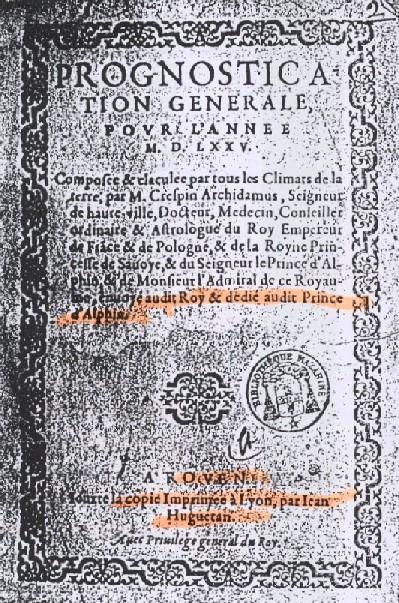 Prognostication pour 1575
